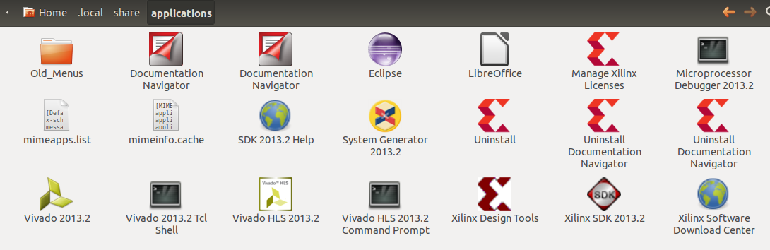 Figure 5: Icons dropped in .local/share/applications by teh Xilinx Install tool.