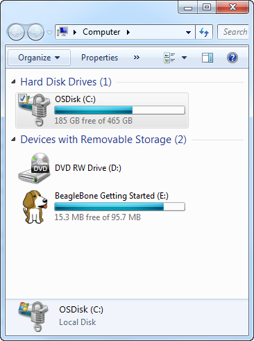The Beagle appears as a USB drive