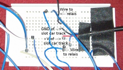 b) reconnect the relay as you have done in 1 j) and the other wire to the  track  activate