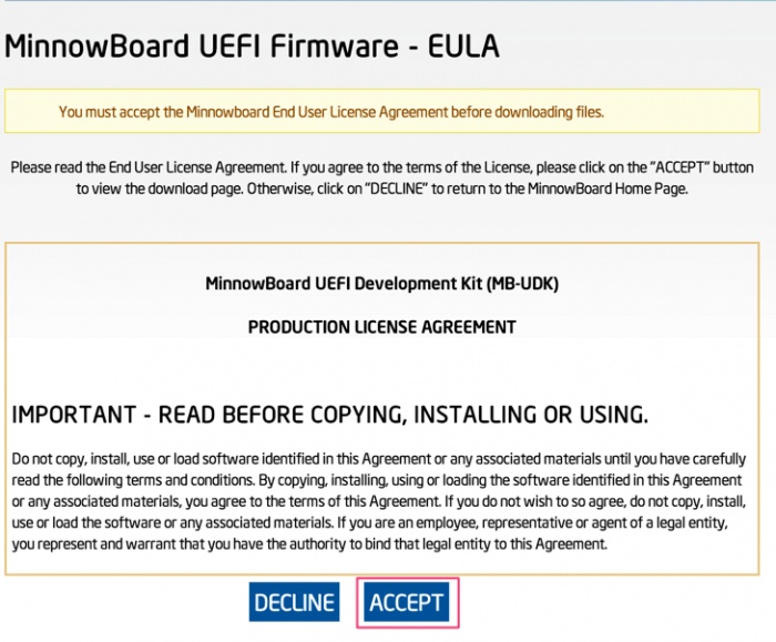 MinnowBoard End User License Agreement