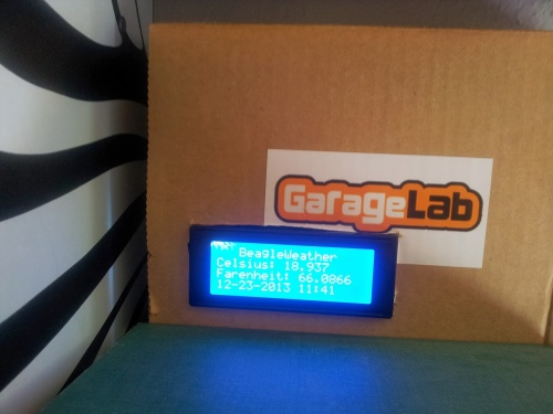 Cardboard mockup of beaglebone weather demo