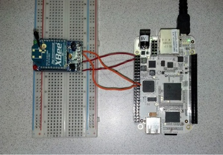 XBee module connected to a BeagleBone.